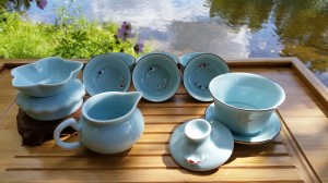 Porcelain Tea Set - Turquoise Good Fortune Swimming Koi